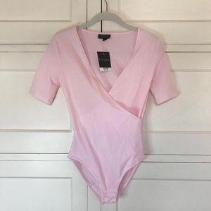 TOPSHOP Pink Wrap Short Sleeve Bodysuit Size 2 New